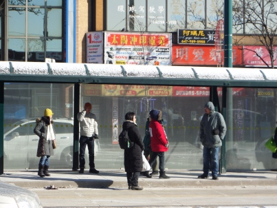 Commuters awaiting the Spadina street car at -20C